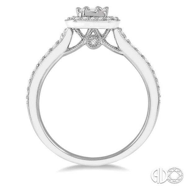 5/8 ct Round Cut and Baguette Diamond Ring in 14K White Gold Image 3 Ross Elliott Jewelers Terre Haute, IN