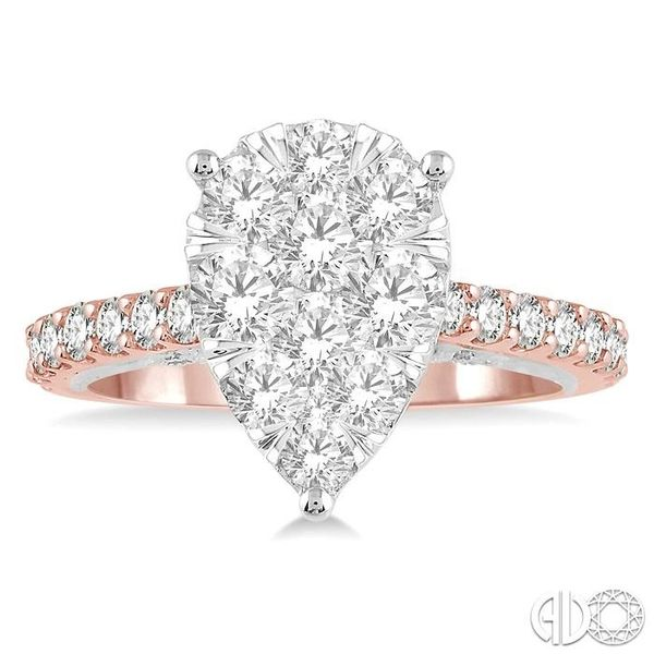 1 1/2 ct Pear Shape Round Cut Diamond Lovebright Ring in 14K Rose and White Gold Image 2 Ross Elliott Jewelers Terre Haute, IN