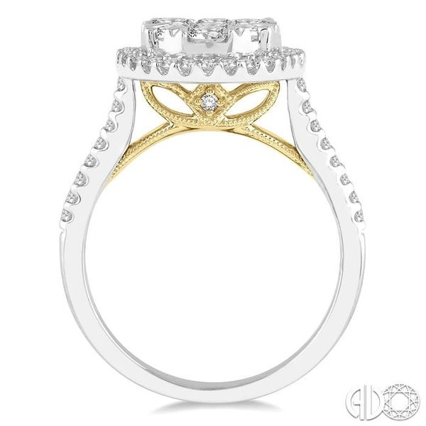 1 1/2 Ctw Round Diamond Lovebright Halo Engagement Ring in 14K White and Yellow Gold Image 3 Ross Elliott Jewelers Terre Haute, IN
