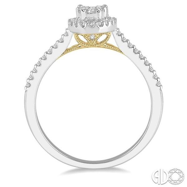 1/3 Ctw Round Diamond Lovebright Oval Shape Halo Engagement Ring in 14K White and Yellow Gold Image 3 Ross Elliott Jewelers Terre Haute, IN