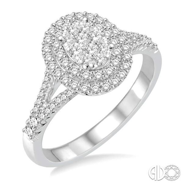 3/4 Ctw Oval Shape Diamond Lovebright Diamond Ring in 14K White Gold Ross Elliott Jewelers Terre Haute, IN