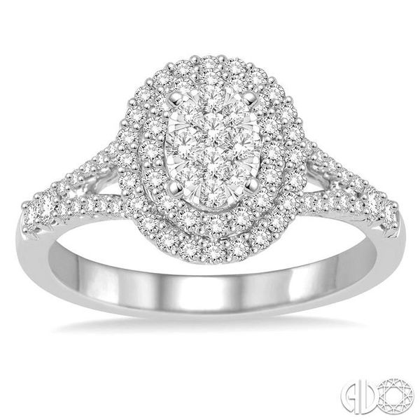 3/4 Ctw Oval Shape Diamond Lovebright Diamond Ring in 14K White Gold Image 2 Ross Elliott Jewelers Terre Haute, IN