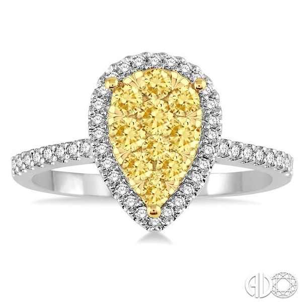 3/4 Ctw Pear Shape Diamond Lovebright Ring in 14K White and Yellow Gold Image 2 Ross Elliott Jewelers Terre Haute, IN