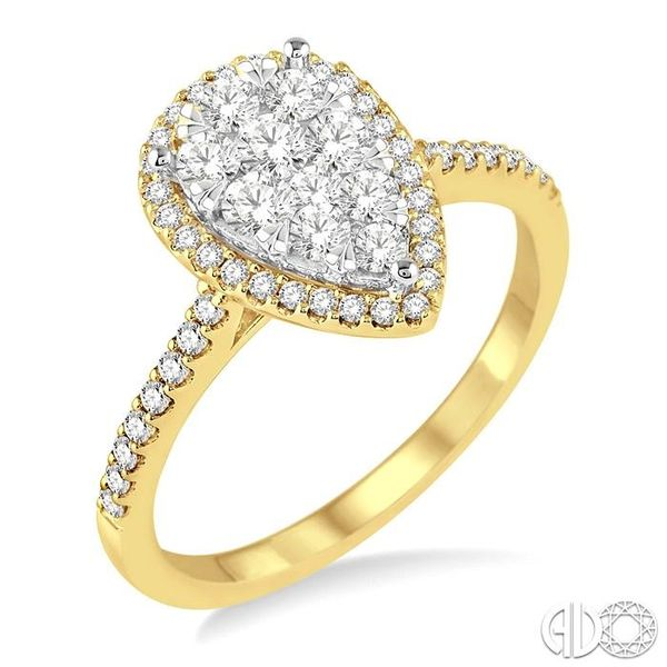 3/4 Ctw Pear Shape Diamond Lovebright Ring in 14K Yellow and yellow and white gold Ross Elliott Jewelers Terre Haute, IN
