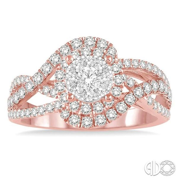 1 1/10 Ctw Round Cut Diamond Lovebright Engagement Ring in 14K Rose and White Gold Image 2 Ross Elliott Jewelers Terre Haute, IN
