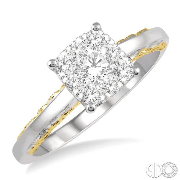 1/2 Ctw Round Diamond Lovebright Solitaire Style Engagement Ring in 14K White and Yellow Gold Ross Elliott Jewelers Terre Haute, IN