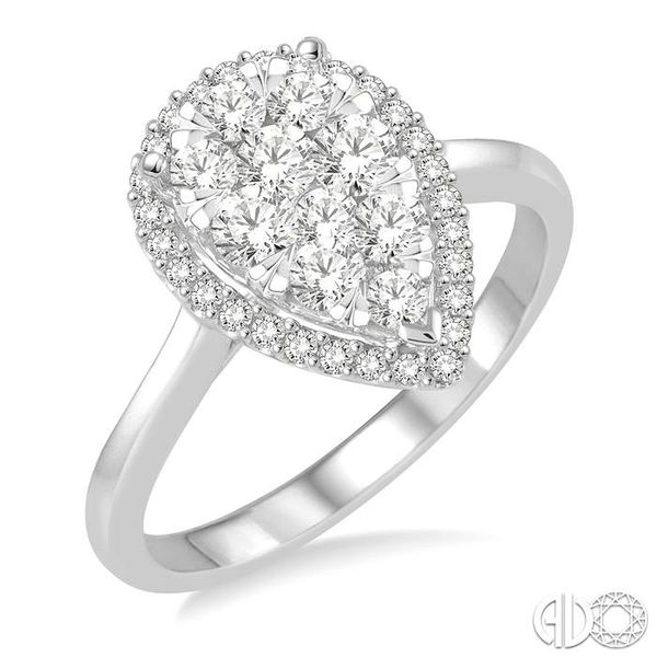 7/8 Ctw Pear Shape Diamond Lovebright Ring in 14K White Gold Ross Elliott Jewelers Terre Haute, IN