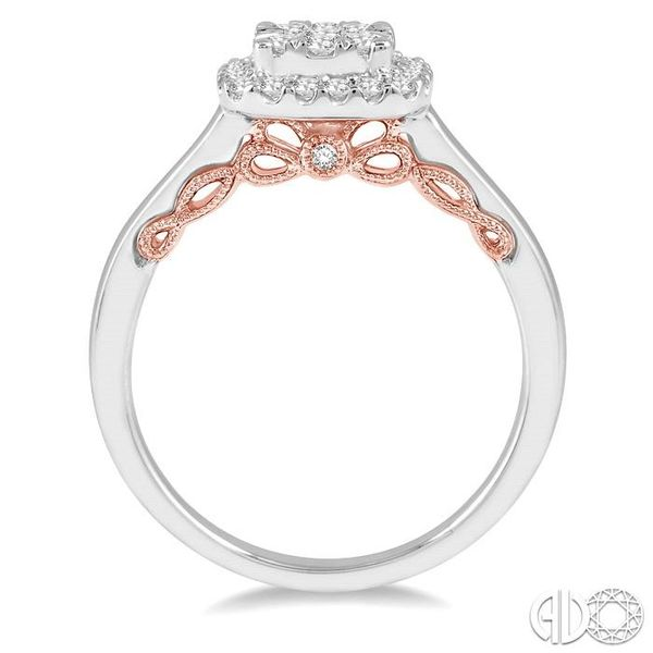 1/2 Ctw Cushion Shape Lovebright Round Cut Diamond Ring in 14K White and Rose Gold Image 3 Ross Elliott Jewelers Terre Haute, IN