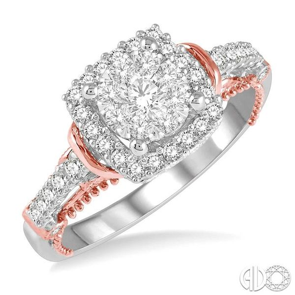 5/8 Ctw Cushion Shape Lovebright Diamond Engagement Ring in 14K White and Rose Gold Ross Elliott Jewelers Terre Haute, IN