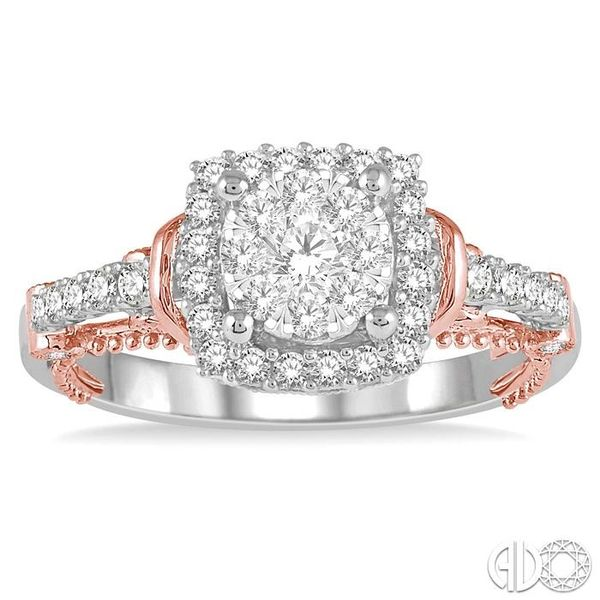 5/8 Ctw Cushion Shape Lovebright Diamond Engagement Ring in 14K White and Rose Gold Image 2 Ross Elliott Jewelers Terre Haute, IN