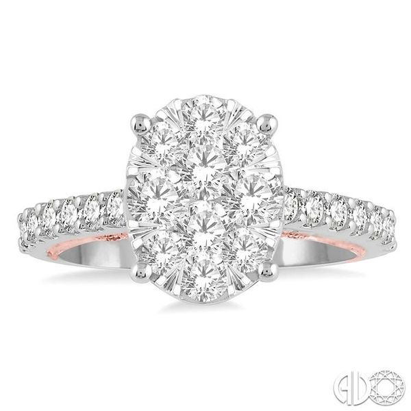 1 1/2 Ctw Oval Shape Lovebright Round Cut Diamond Ring in 14K White and Rose Gold Image 2 Ross Elliott Jewelers Terre Haute, IN