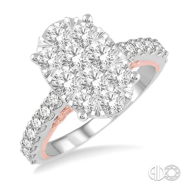 2 Ctw Oval Shape Lovebright Round Cut Diamond Ring in 14K White and Rose Gold Ross Elliott Jewelers Terre Haute, IN