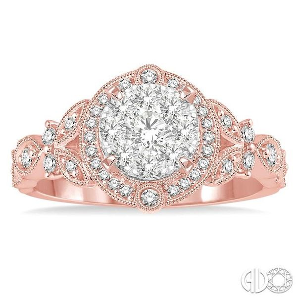 5/8 Ctw Diamond Lovebright Engagement Ring in 14K Rose and White Gold Image 2 Ross Elliott Jewelers Terre Haute, IN