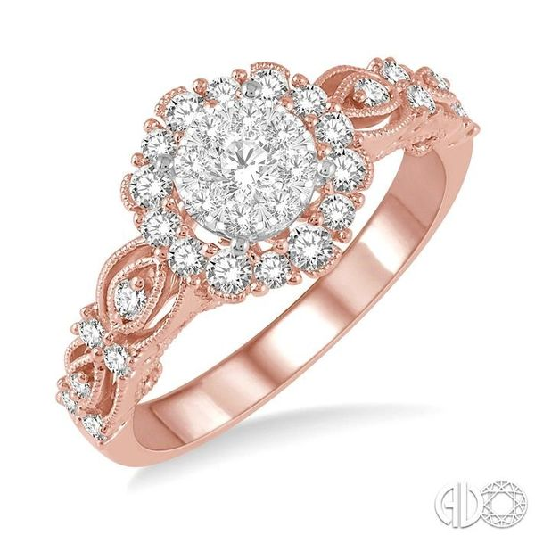 3/4 Ctw Diamond Lovebright Ring in 14K Rose and White Gold Ross Elliott Jewelers Terre Haute, IN