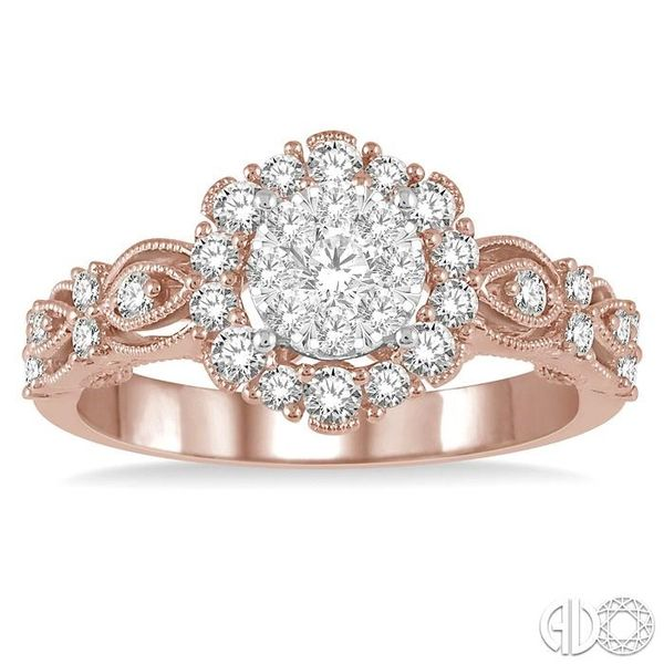 3/4 Ctw Diamond Lovebright Ring in 14K Rose and White Gold Image 2 Ross Elliott Jewelers Terre Haute, IN