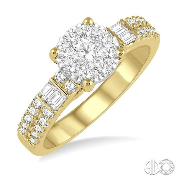 7/8 Ctw Round Shape Lovebright Diamond Cluster Ring in 14K Yellow and White Gold Ross Elliott Jewelers Terre Haute, IN