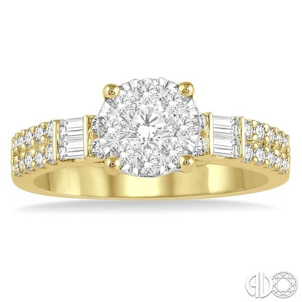 7/8 Ctw Round Shape Lovebright Diamond Cluster Ring in 14K Yellow and White Gold Image 2 Ross Elliott Jewelers Terre Haute, IN