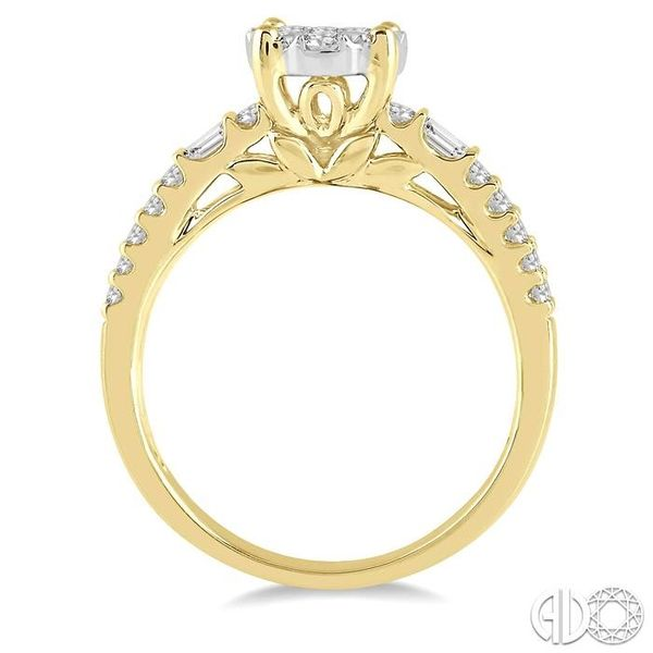7/8 Ctw Round Shape Lovebright Diamond Cluster Ring in 14K Yellow and White Gold Image 3 Ross Elliott Jewelers Terre Haute, IN