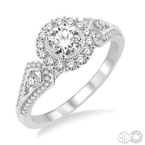 5/8 Ctw Diamond Engagement Ring with 1/4 Ct Round Cut Center Stone in 14K White Gold Ross Elliott Jewelers Terre Haute, IN