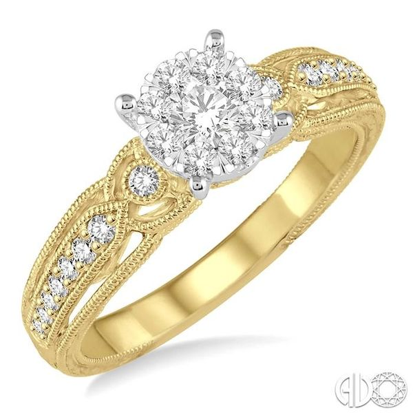 3/8 Ctw Round Cut Diamond Lovebright Engagement Ring in 14K Yellow and White Gold Ross Elliott Jewelers Terre Haute, IN