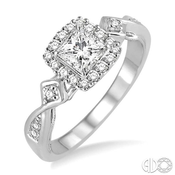 1/2 Ctw Diamond Engagement Ring with 1/5 Ct Princess Cut Center Stone in 14K White Gold Ross Elliott Jewelers Terre Haute, IN