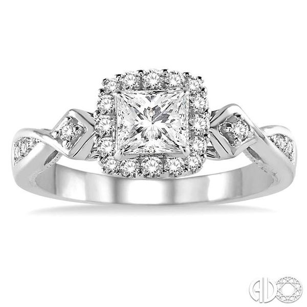 1/2 Ctw Diamond Engagement Ring with 1/5 Ct Princess Cut Center Stone in 14K White Gold Image 2 Ross Elliott Jewelers Terre Haute, IN