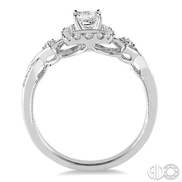 1/2 Ctw Diamond Engagement Ring with 1/5 Ct Princess Cut Center Stone in 14K White Gold Image 3 Ross Elliott Jewelers Terre Haute, IN