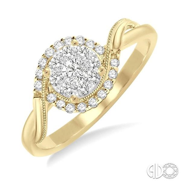 1/3 Ctw Round Cut Diamond Lovebright Engagement Ring in 14K Yellow and White Gold Ross Elliott Jewelers Terre Haute, IN