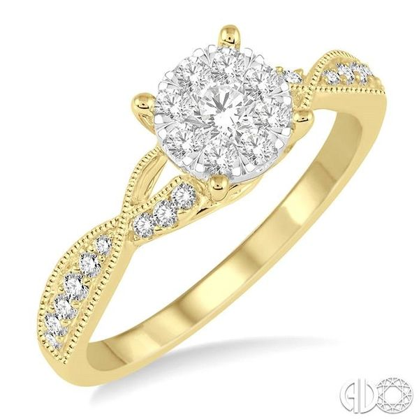 1/2 Ctw Round Cut Diamond Lovebright Engagement Ring in 14K Yellow and White Gold Ross Elliott Jewelers Terre Haute, IN
