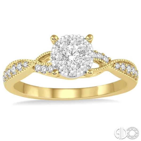 1/2 Ctw Round Cut Diamond Lovebright Engagement Ring in 14K Yellow and White Gold Image 2 Ross Elliott Jewelers Terre Haute, IN
