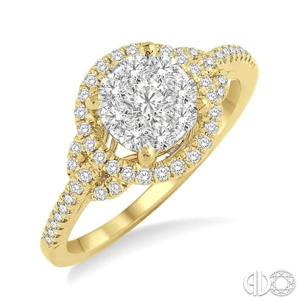 5/8 Ctw Lovebright Round Cut Diamond Engagement Ring in 14K Yellow and White Gold Ross Elliott Jewelers Terre Haute, IN