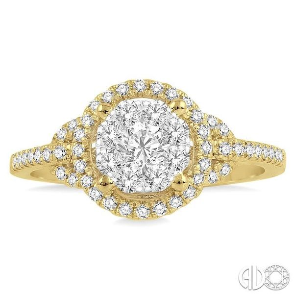 5/8 Ctw Lovebright Round Cut Diamond Engagement Ring in 14K Yellow and White Gold Image 2 Ross Elliott Jewelers Terre Haute, IN