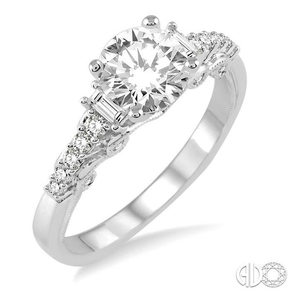 1 1/10 Ctw Diamond Engagement Ring with 3/4 Ct Round Cut Center Stone in 14K White Gold Ross Elliott Jewelers Terre Haute, IN