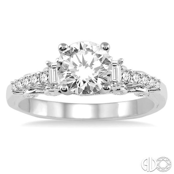 1 1/10 Ctw Diamond Engagement Ring with 3/4 Ct Round Cut Center Stone in 14K White Gold Image 2 Ross Elliott Jewelers Terre Haute, IN