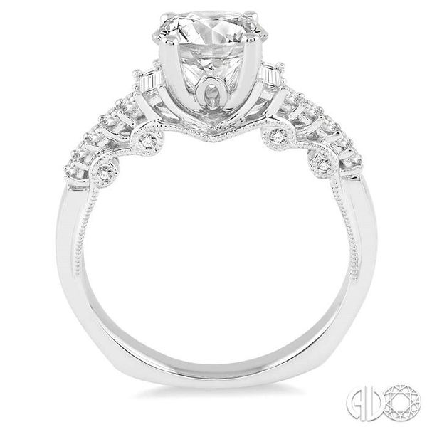 1 1/10 Ctw Diamond Engagement Ring with 3/4 Ct Round Cut Center Stone in 14K White Gold Image 3 Ross Elliott Jewelers Terre Haute, IN