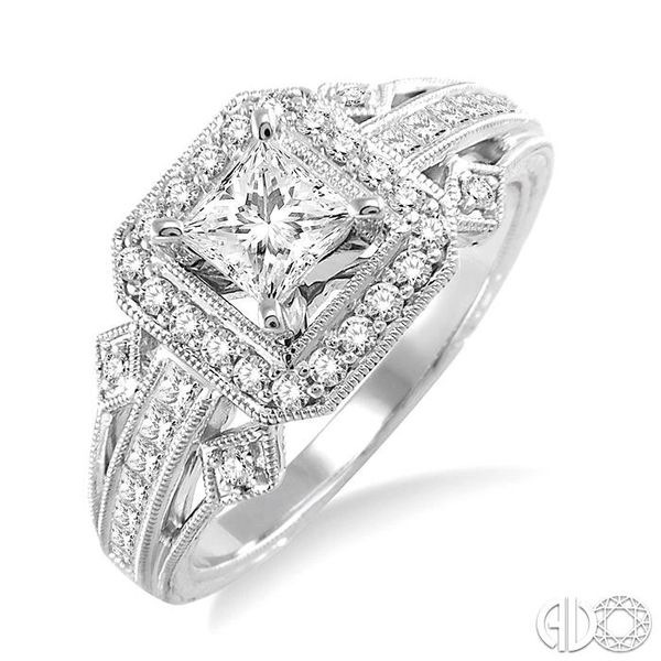 1 Ctw Diamond Engagement Ring with 1/2 Ct Princess Cut Center Stone in 14K White Gold Ross Elliott Jewelers Terre Haute, IN