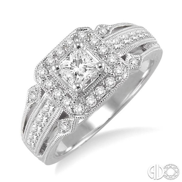 3/4 Ctw Diamond Engagement Ring with 1/3 Ct Princess Cut Center Stone in 14K White Gold Ross Elliott Jewelers Terre Haute, IN