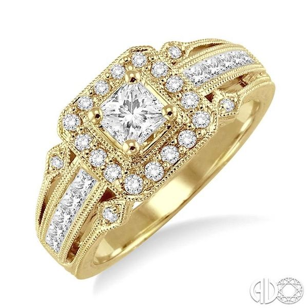 3/4 Ctw Diamond Engagement Ring with 1/3 Ct Princess Cut Center Stone in 14K Yellow Gold Ross Elliott Jewelers Terre Haute, IN