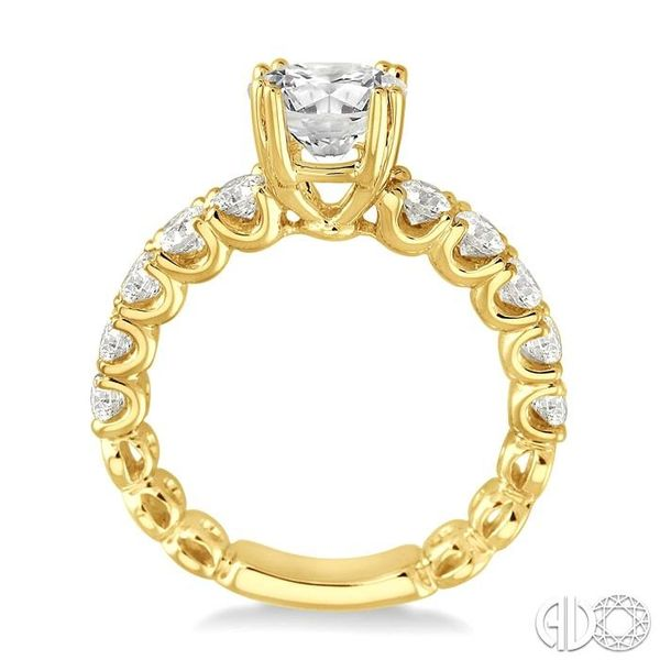 1 3/4 Ctw Diamond Engagement Ring with 3/4 Ct Round Cut Center Stone in 14K Yellow Gold Image 3 Ross Elliott Jewelers Terre Haute, IN