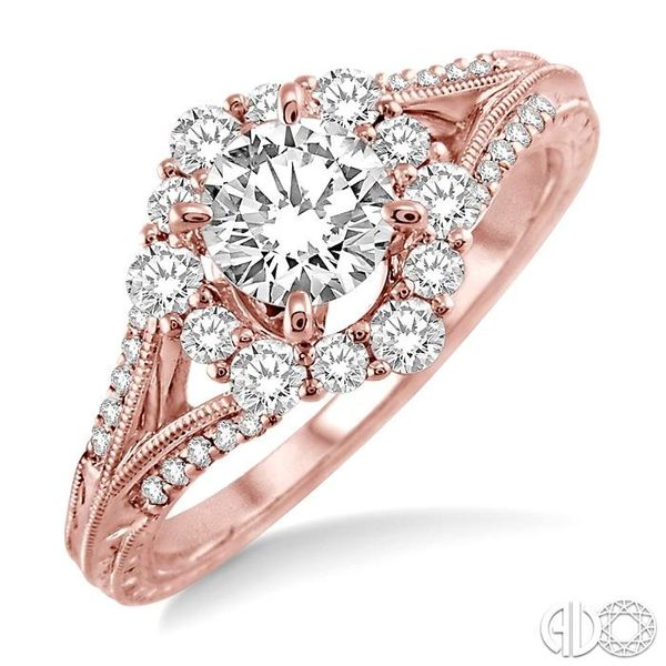 1 Ctw Diamond Engagement Ring with 5/8 Ct Round Cut Center Stone in 14K Rose Gold Ross Elliott Jewelers Terre Haute, IN