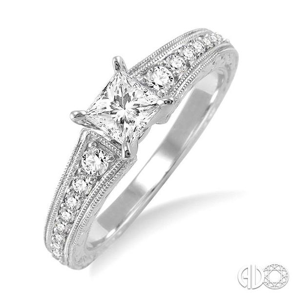 5/8 Ctw Diamond Engagement Ring with 3/8 Ct Princess Cut Center Stone in 14K White Gold Ross Elliott Jewelers Terre Haute, IN