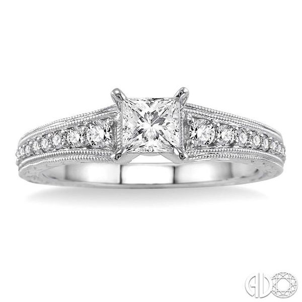 5/8 Ctw Diamond Engagement Ring with 3/8 Ct Princess Cut Center Stone in 14K White Gold Image 2 Ross Elliott Jewelers Terre Haute, IN