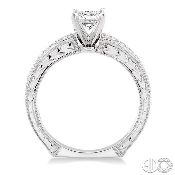5/8 Ctw Diamond Engagement Ring with 3/8 Ct Princess Cut Center Stone in 14K White Gold Image 3 Ross Elliott Jewelers Terre Haute, IN
