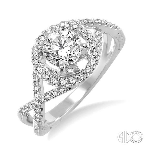 1 Ctw Diamond Engagement Ring with 3/4 Ct Round Cut Center Stone in 14K White Gold Ross Elliott Jewelers Terre Haute, IN