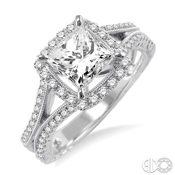 1 1/6 Ctw Diamond Engagement Ring with 3/4 Ct Princess Cut Center Stone in 14K White Gold Ross Elliott Jewelers Terre Haute, IN