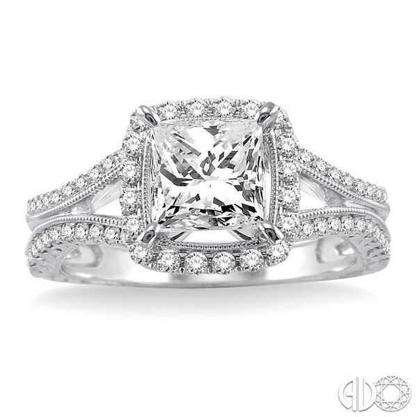 1 1/6 Ctw Diamond Engagement Ring with 3/4 Ct Princess Cut Center Stone in 14K White Gold Image 2 Ross Elliott Jewelers Terre Haute, IN