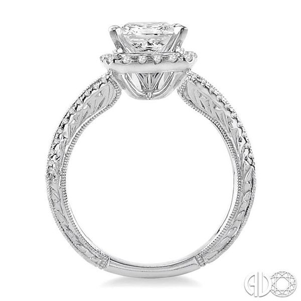 1 1/6 Ctw Diamond Engagement Ring with 3/4 Ct Princess Cut Center Stone in 14K White Gold Image 3 Ross Elliott Jewelers Terre Haute, IN