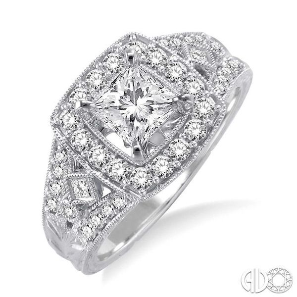 1 1/10 Ctw Diamond Engagement Ring with 1/2 Ct Princess Cut Center Stone in 14K White Gold Ross Elliott Jewelers Terre Haute, IN