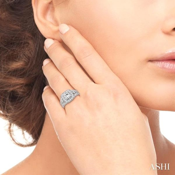 1 1/10 Ctw Diamond Engagement Ring with 1/2 Ct Princess Cut Center Stone in 14K White Gold Image 4 Ross Elliott Jewelers Terre Haute, IN