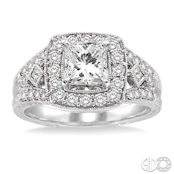 1 1/10 Ctw Diamond Engagement Ring with 1/2 Ct Princess Cut Center Stone in 14K White Gold Image 2 Ross Elliott Jewelers Terre Haute, IN